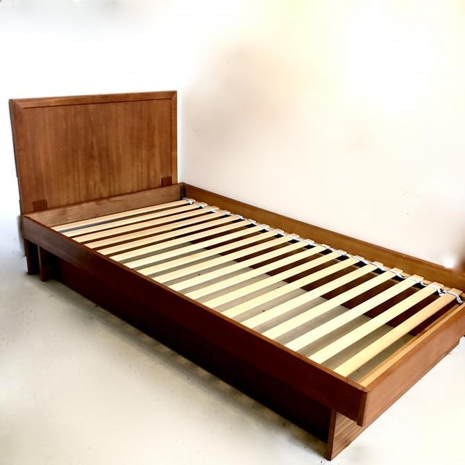 Teak Single Platform Bed with Headboard
