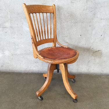 Vintage Oak Desk Chair with Tooled Leather Seat