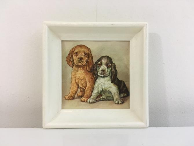 Vintage Cocker Spaniel Print Litho Plastic Frame Dogs Puppies Framed 1970s Kitsch Retro Decor Nursery Kid's Room Decor Illustration by CheckEngineVintage