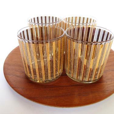 Set of 4 Vintage Gold Lowball Glasses, MCM Gold Pinstripes Scotch Glasses, 22kt Hollywood Regency Textural Gold Barware by HerVintageCrush