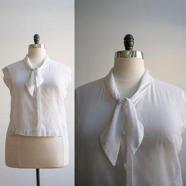 Vintage Bow Tie 1950s White Cotton Blouse / Mid Century Blouse XXL / 50s Cotton Blouse Plus / Plus Sized Blouse / 50s Plus Sized Blouse by milkandice