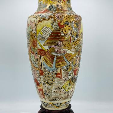 """Vintage Large Satsuma Vase, Hand painted, Embossed Moriage - excellent Condition Wood Stand  18"""" X 6"""" by JoAnntiques"""