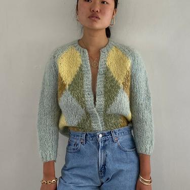 50s hand knit mohair harlequin sweater / vintage baby blue yellow argyle hand knit Italian mohair raglan cardigan sweater | S M by RecapVintageStudio