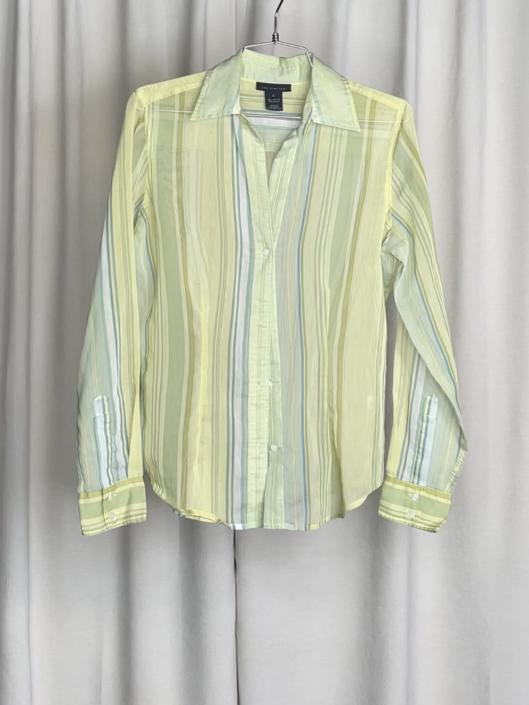 Vintage The Limited Green Striped Sheer Button Down