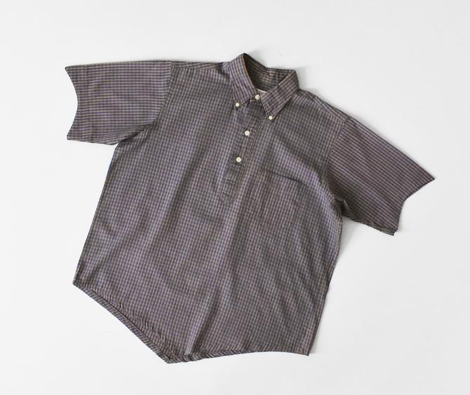 vintage 60s gingham cotton shirt, short sleeve pullover blouse, size M / L by ImprovGoods