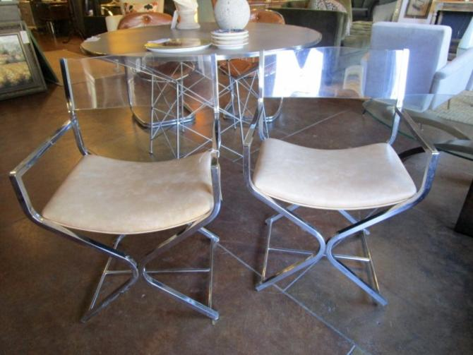 PAIR OF VINTAGE ARMCHAIRS WITH ACRYLIC BACK AND CHROME BASE