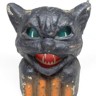 Shabby Antique 1940's Black Cat on Fence Halloween Lantern, Pulp Paper Mache, Vintage Retro Decor by exploremag