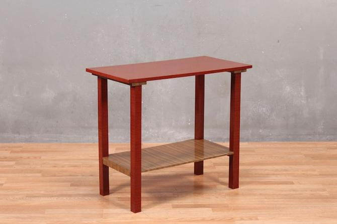 Mid Century Red Laminate 2-Tier Console Table