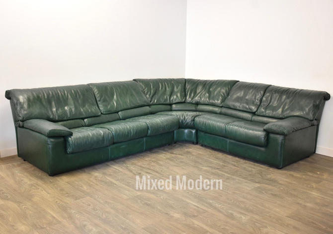 Roche Bobois Green Leather Sectional Sofa by mixedmodern1