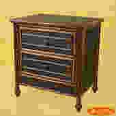 Burnt Bamboo and Grasscloth Nightstand