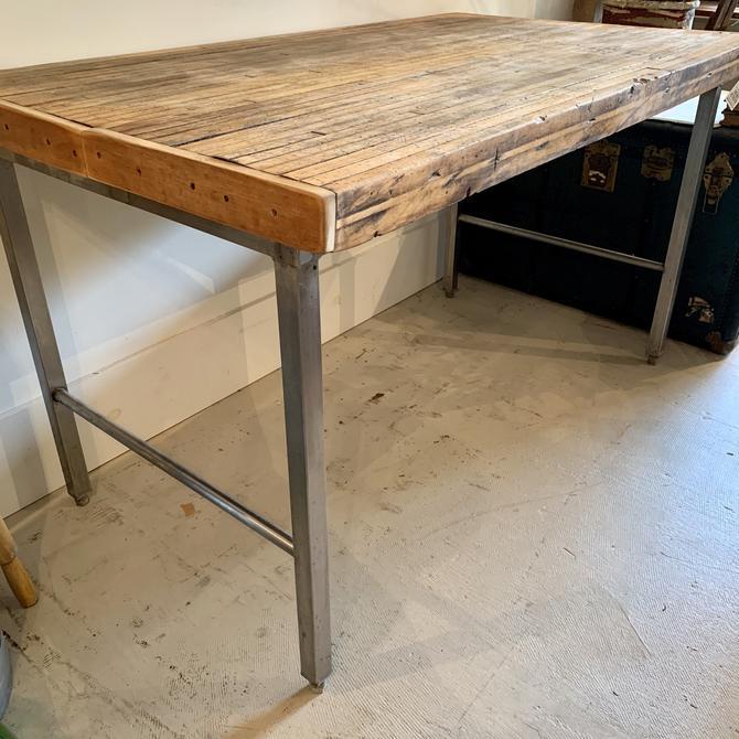 Vintage Butcher Block Food Store Table