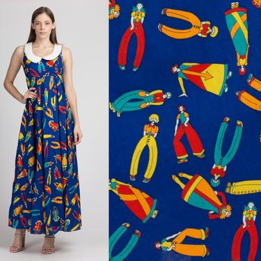 70s Blue Novelty Print Peter Pan Collar Maxi Dress - Small | Vintage Denise Are Here! Sleeveless Empire Waist Dress by FlyingAppleVintage