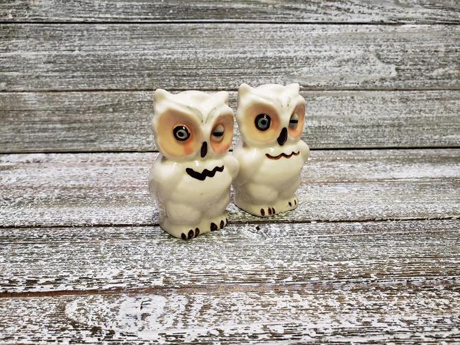 Vintage Owls Salt and Pepper Shakers, Shawnee Winking Owls Salt n Pepper Shaker Set, White Kitchen Snow Owls, Mid Century, Vintage Kitchen by AGoGoVintage