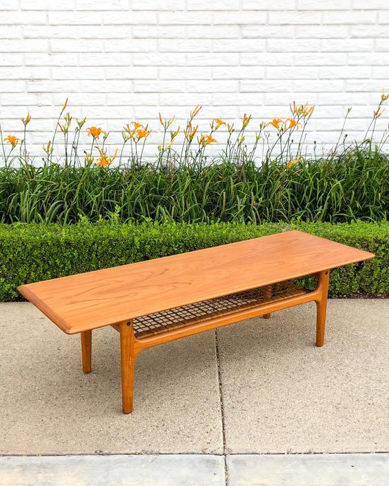 Danish Modern Teak Coffee Table with Cane Bookshelf by VintageSupplyLA