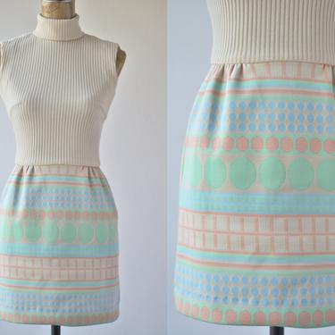 60s Vintage Mini Sweater Dress by Nardis of Dallas, Sleeveless Khaki Geometric Double Knit Polyester Skirt Mint Green Blue Tan, Size Small 4 by MOBIUSMOD