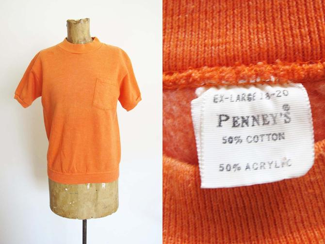 Vintage 1950s Penney's Short Sleeve Sweatshirt S - 50s Melon Orange Short Sleeve Sweatshirt - Mockneck - Pocket T Shirt - Mock neck by MILKTEETHS