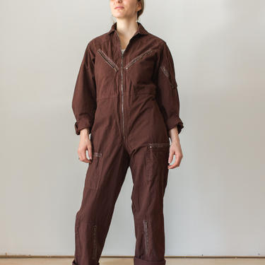 Vintage Hickory Brown Overdye Zipper Cotton Coverall   Jump Suit Jumpsuit   Uniform Artist Mechanic by RAWSONCHICAGO