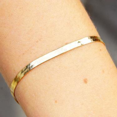"Vintage 14K Yellow Gold Herringbone Bracelet, 4mm Flat Herringbone Chain, Minimalist Solid Gold Bracelet, Unisex, 585 Jewelry, 7 1/8"" Long by shopGoodsVintage"