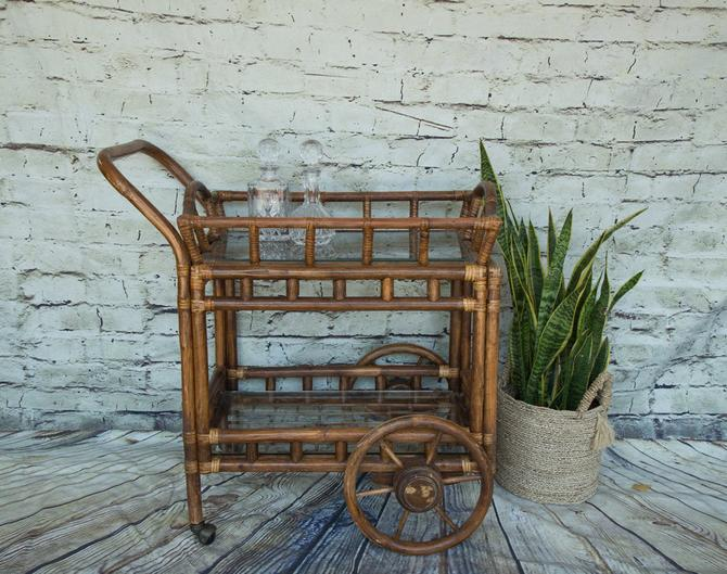 SHIPPING NOT FREE!!! Vintage Bamboo Bar Cart with glass shelves by WorldofWicker