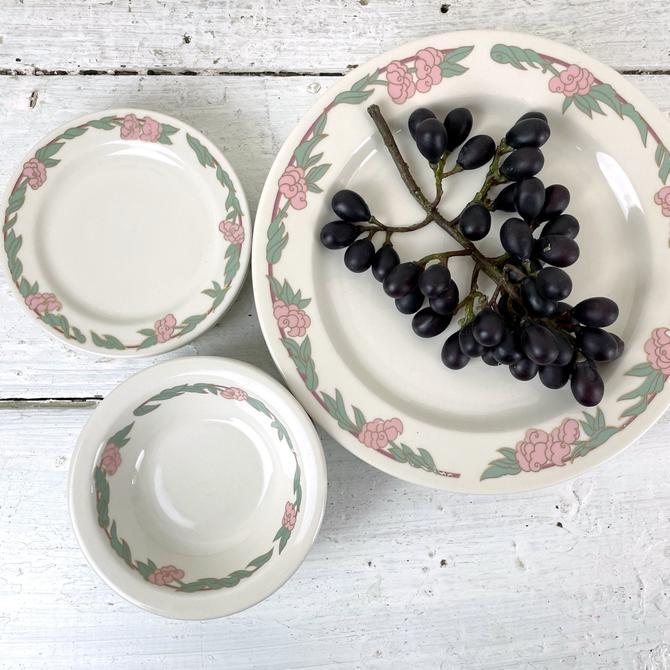Syracuse China floral restaurantware china set for 4 - 12 pc - 1980s vintage by NextStageVintage