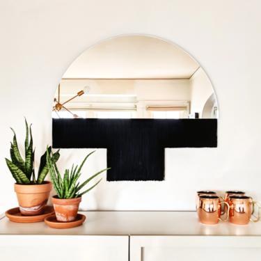 """Half-Circle Fringe Mirror: """"Aria-Duet"""" (Medium) WITHOUT Accent Bar-Boho Mirror, Half-Moon Mirror, Macrame Mirror, Modern Mirror by shopcandiceluter"""
