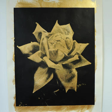 Large Gold Rose Acrylic on Drawing Paper (signed)