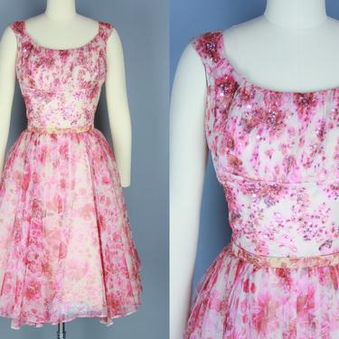 1950s ADELE SIMPSON Dress | Vintage 50s Pink Sequined Floral Fit and Flare Cocktail Dress | small by RelicVintageSF