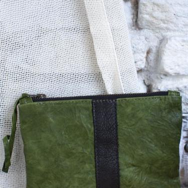 Moss Leather Stripe Zip Pouch