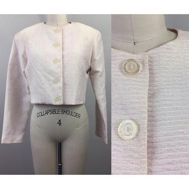 Vintage 80s 90s Carmen Marc Valvo Pink Lamé Ribbed Crop Jacket S by FlashbackATX