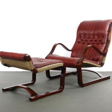 Bentwood Afromasia Chair in Oxblood Red Leather with Matching Ottoman by ABTModern