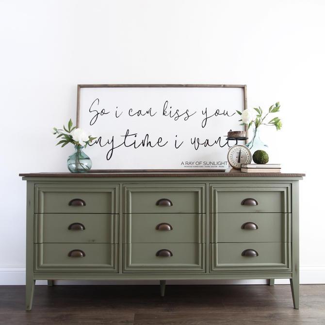 Olive Green Painted Dresser - Farmhouse Decor - Mid Century Modern - Modern Farmhouse - Painted Furniture - Rustic Dresser - Vintage Dresser by ARayofSunlight