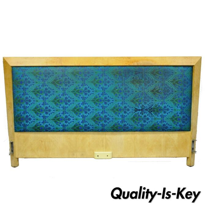 Mid Century Modern Art Deco Burl Wood Queen Size Birdseye Maple Bed Headboard