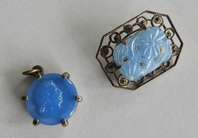 Two Deco Blue Pressed Glass  Cameo Pendant and Pin by LegendaryBeast
