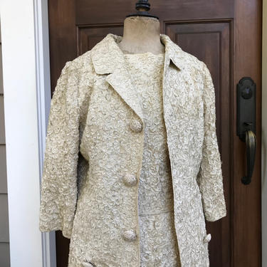 1960s Cream Ribbon Suit, Riviera International, 3 Piece Jacket, Skirt, Jackie O, Handcrafted Couture, Small by JansVintageStuff