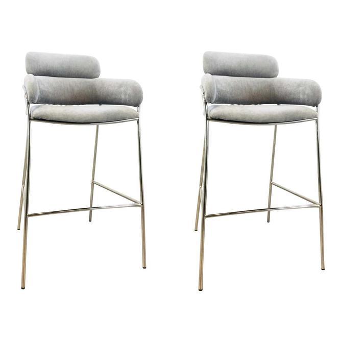 Interlude Home Modern Gray Velvet Counter Stools - a Pair