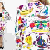 Vintage 90's Novelty Print Silk Suit Set / 1990's Silk Skirt and Blazer Set / Hot Air Balloons / Women's Size Medium / Large by RubyThreadsVintage