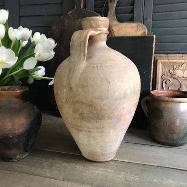 19th C Pottery Jug, Pitcher, Olive Jug, Rustic Terracotta, Rustic European Farmhouse, Farm Table, Art Pottery by JansVintageStuff
