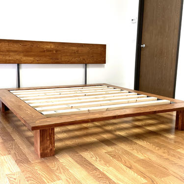 NEW ITEM   Platform Bed And Headboard   California King Size   Wood Legs   Modern Minimal Design by CasanovaHome