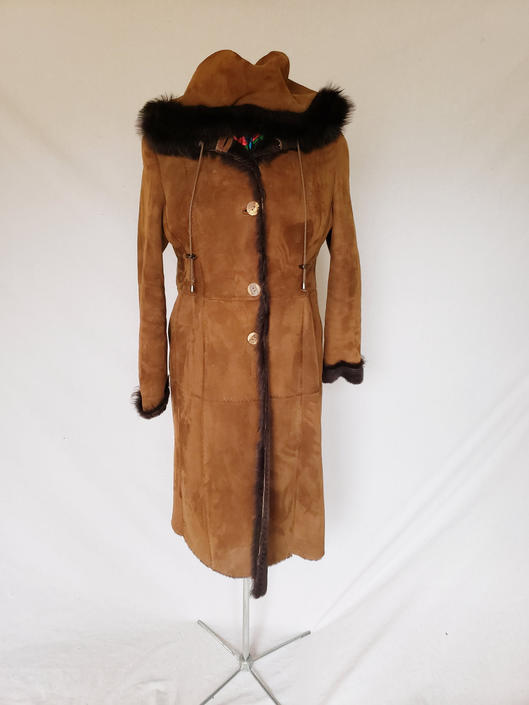 Vintage Brown Suede Winter Coat with Black Fur and Shearling  / Hooded Leather Coat / L / Carmela by RareJuleVintage