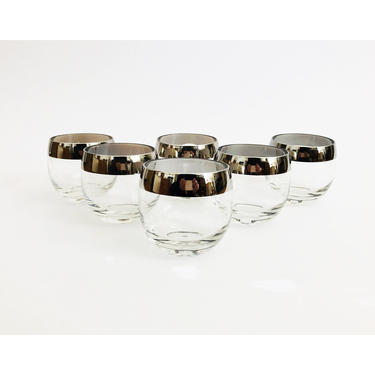 Large Mid Century Silver Rimmed Roly Poly Glasses / Set of 6 by SergeantSailor