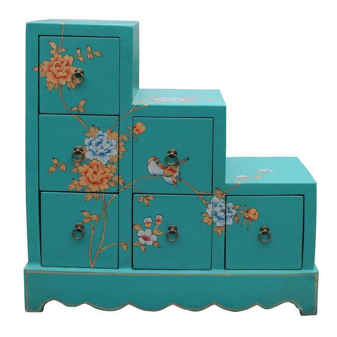 Oriental Turquoise Aqua Color Small Step Tansu Cabinet cs5011S
