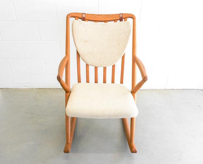 Designer Benny Linden Design, Frank Reenskaug Style Teak Mid-Century Rocking Chair by PortlandRevibe