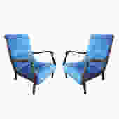 Pair of Italian Mid-Century Armchairs by Ezio Longhi