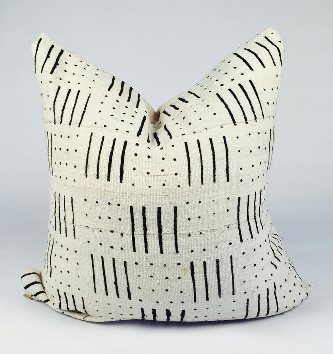 Custom Sizes White with Black Lines Mudcloth Pillow