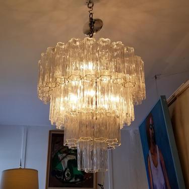 "Vintage Italian  "" Tronchi "" Murano Glass Chandelier By Venini . by MIAMIVINTAGEDECOR"