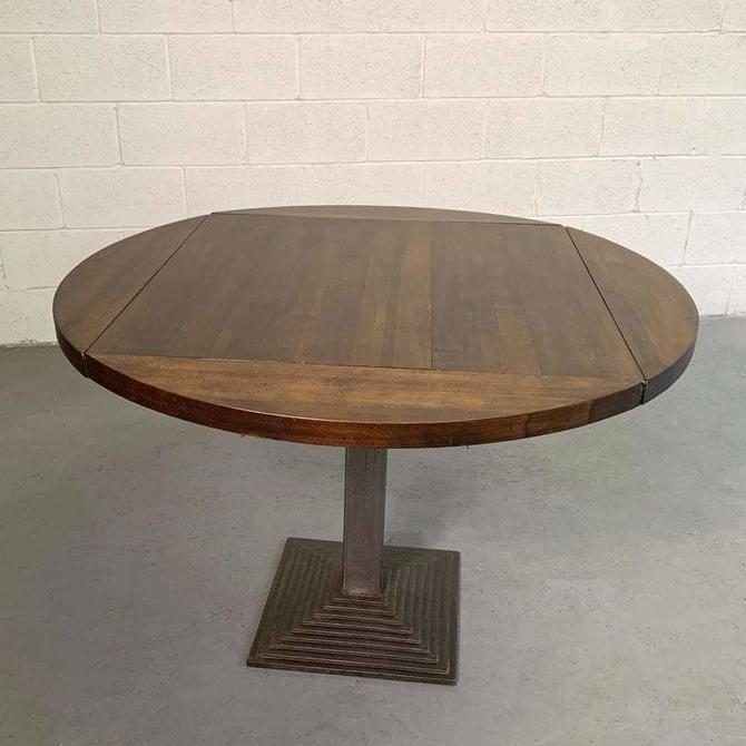 Industrial Round Oak Folding Dining Table With Cast Iron Pedestal Base