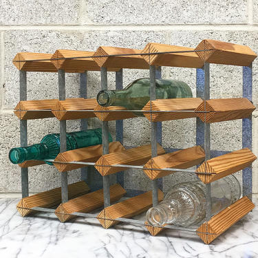 Vintage Wine Rack Retro 1990s Industrial + Holds 12 Bottles + Wood and Metal Frame + Bottle Storage and Display + Home and Kitchen Decor by RetrospectVintage215