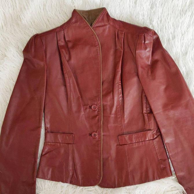 Vintage Maroon Leather Jacket // Bernard's 80s 90s Coat by GemVintageMN