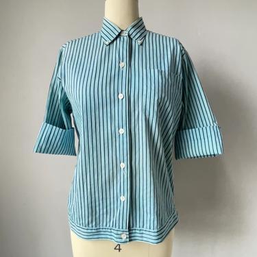 1950s Blouse Cotton Striped Top M by dejavintageboutique