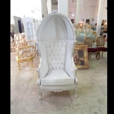 French Balloon Silver with White Leather Throne Chair *2 Available* High-Back French Canopy Silver Leaf Chair White Leather Interior Design by SittinPrettyByMyleen
